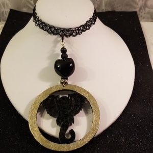 Jewelry - Black simulated tattoo elephant choker